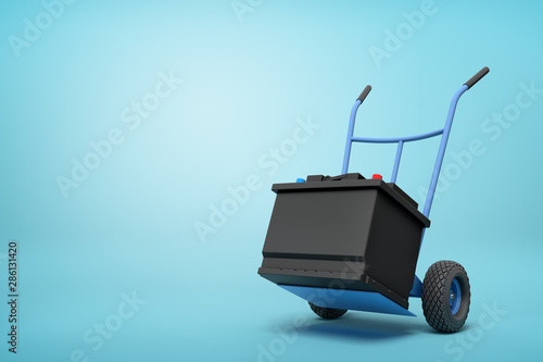 Photo 3d rendering of blue hand truck with black accumulator box on top on light-blue background with copy space