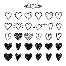 Hand Drawn Painted Hearts. Hea...