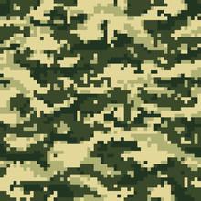 Green Digital Pixel Camouflage Seamless Pattern. Vector