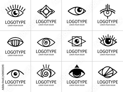 Obraz Eye logo black set. Eyes graphic symbols, vector secret and spy, healthy vision and creative eyeball logo set on white - fototapety do salonu