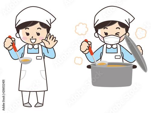 Fotomural 料理を作る調理師の女性