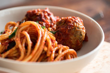 Close Up Of Pasta And Meatball...