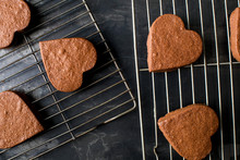 Close Up Of Heart Shaped Cooki...