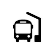 Bus station icon in black, bus symbol