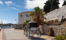 Horse Drawn Carts, Used As Taxis On The Greek Island Of Spetses, Greece, Europe