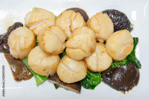 scallop cooking with vegetables and mushroom Canvas Print