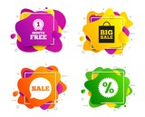 Sale speech bubble icon. Banner shape, various colors. Discount star symbol. Big sale shopping bag sign. First month free medal. Geometric vector banner. Gradient liquid shape badge. Vector - 286136229