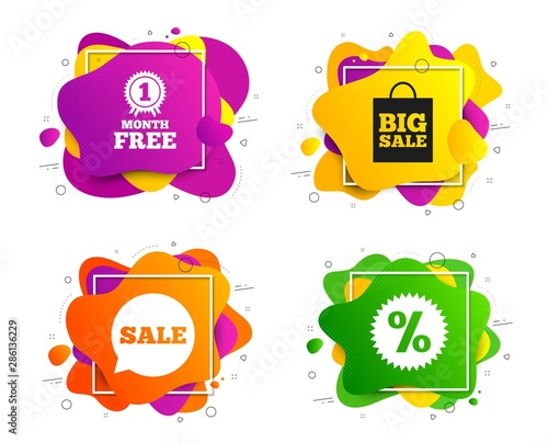 Sale speech bubble icon. Banner shape, various colors. Discount star symbol. Big sale shopping bag sign. First month free medal. Geometric vector banner. Gradient liquid shape badge. Vector
