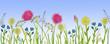 Leinwandbild Motiv Bright flowers and grass on a blue background. A summer meadow.