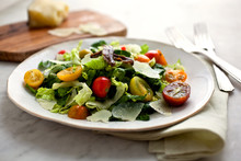 Close Up Of Caesar Salad Served On Plate
