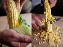 Close Up Of Man Peeling And Cutting Corn Kernels