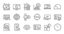Seo Line Icons. Increase Sales, Business Strategy And Search Optimization. Analytics Linear Icon Set. Quality Line Set. Vector