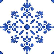 Blue Watercolor Filigree Pattern