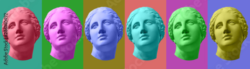 Obraz na plátne Six colorful gypsum copy of ancient statue Venus head isolated on a multicolors background