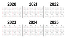 Calendar From 2020 To 2025 Yea...