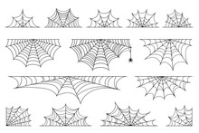 Set Of Spider Web For Halloween. Halloween Cobweb, Frames And Borders, Scary Elements For Decoration. Hand Drawn Spider Web Or Cobweb With Hanging Spider