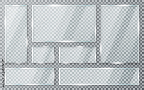 Canvastavla Glass plates set on transparent background
