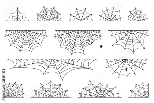 Spoed Fotobehang Halloween Set of spider web for Halloween. Halloween cobweb, frames and borders, scary elements for decoration. Hand drawn spider web or cobweb with hanging spider