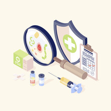 Vaccination Equipment Isometric Color Illustration. Healthcare, Immunisation. Disease Prevention And Health Promotion. Vaccination Records, Vial And Syringe, Virus, Magnifying Glass 3d Concept