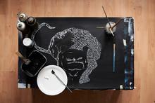 Overhead Of Artist Studio With...