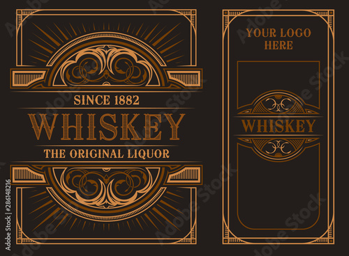Vintage label template for whiskey.. Wallpaper Mural