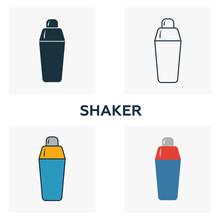 Shaker Icon Set. Four Elements...