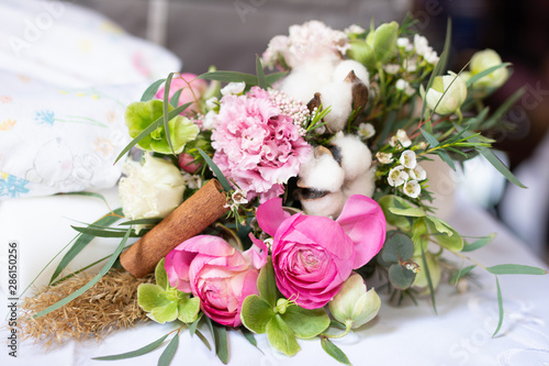 obraz lub plakat Beautiful bouquet of flowers with brightly colored flowers
