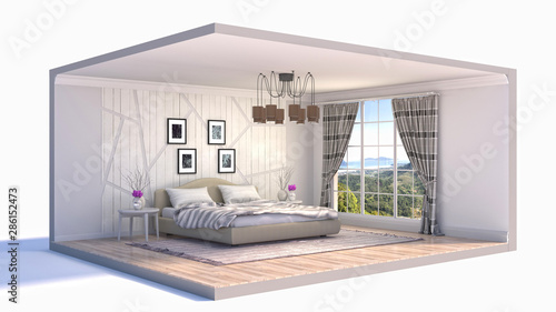 Fotografija  Interior of the bedroom in a box. 3D illustration