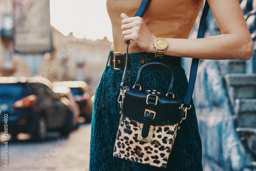 Fototapeta Close up of trendy woman`s autumn outfit: golden wrist watch, faux leather leopard printed box bag. Copy, empty space for text obraz