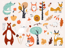 Cute Autumn Woodland Animals A...