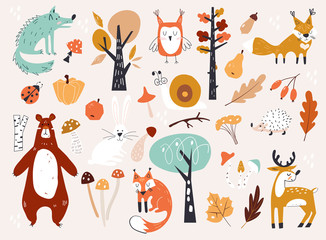 Cute Autumn Woodland Animals and Floral Forest Design Elements. Set of cute a...