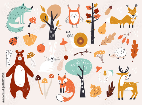 obraz lub plakat Cute Autumn Woodland Animals and Floral Forest Design Elements. Set of cute autumn cartoon characters, plants and food. Fall season.