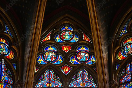 Cuadros en Lienzo  Stained glass window in Poissy collegiate church, Paris, France
