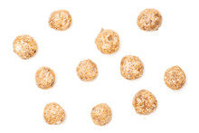 Lot Of Whole Chocolate Ball Breakfast Cereals Flatlay Isolated On White Background