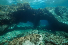 Underwater Large Rock With Hol...