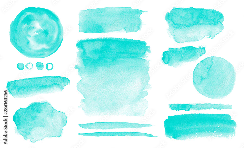Fototapeta Turquoise watercolor stains Blue washes set Brush paint strokes kit Invitation card design
