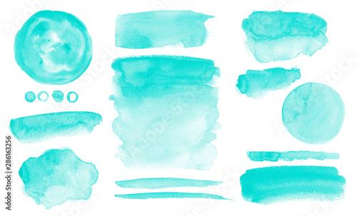 Obraz Turquoise watercolor stains Blue washes set Brush paint strokes kit Invitation card design - fototapety do salonu