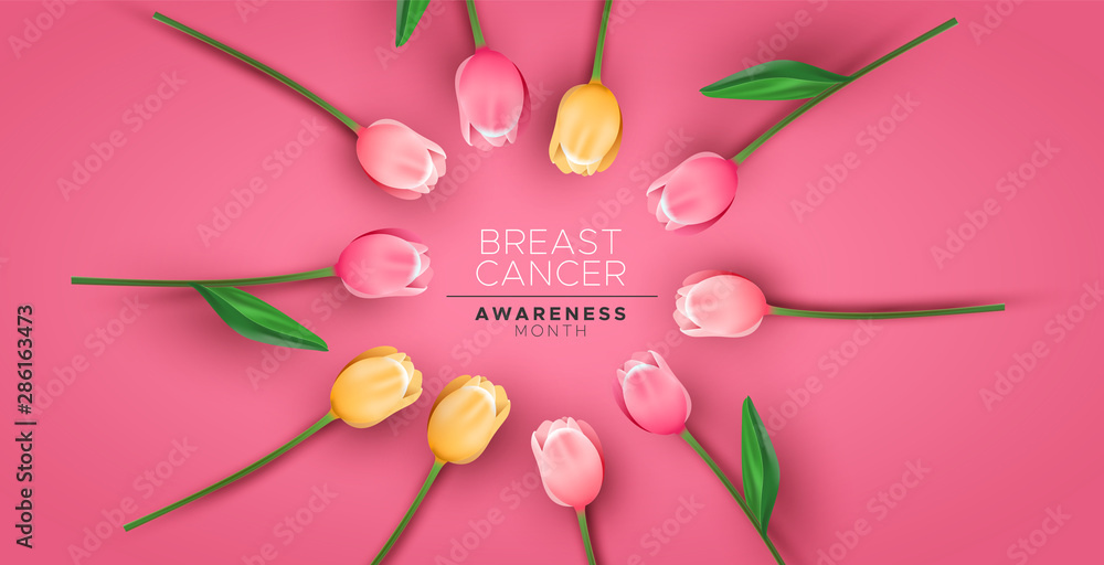 Fototapety, obrazy: Breast cancer awareness banner pink tulip flower