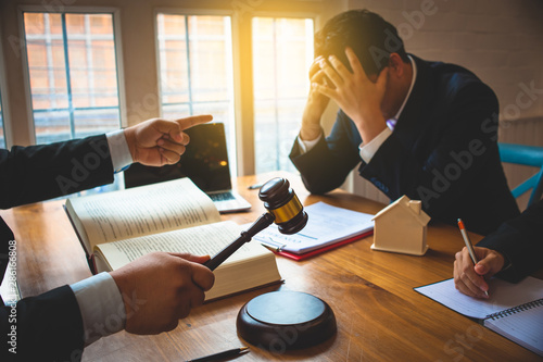 Fotomural  Businessman feels stressed when filed for bankruptcy, bankruptcy and execution concept