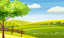 Felds And Hills Rural Landscape. Cartoon Countryside Valley With Green Hills Trees Flowers Blue Sky