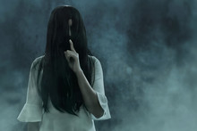 Scary Ghost Woman On Dark Background