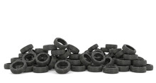 Tire Dump Isolated On White Background. Recycling Tires. Environmental Pollution. Global Problem. Trashing The Planet. 3d Rendering.