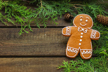 Gingerbread (christmas Atmosphere, New Year Holiday) Decoration. Top Food Background. Copy Space