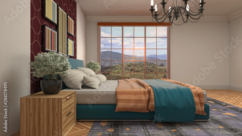 obraz dibond Bedroom interior. Bed. 3d illustration