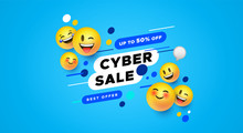 Cyber Sale Template 3d Yellow ...