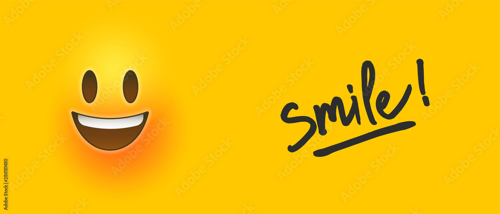 Fototapeta Happy 3d smiley face icon with smile text quote
