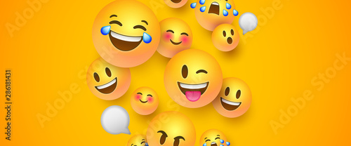Photo sur Aluminium Graffiti collage Funny 3d smiley face banner of social chat icons