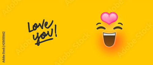 Photo  Romantic 3d emoji with love you text quote concept