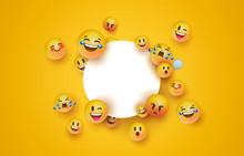 Fun Yellow Emoji Icon White Ci...