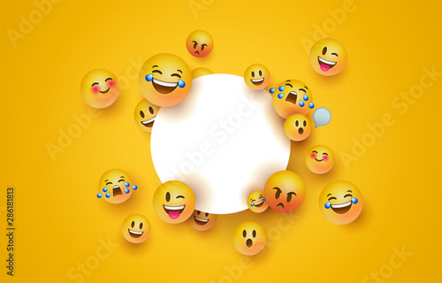 Fun yellow emoji icon white circle frame template